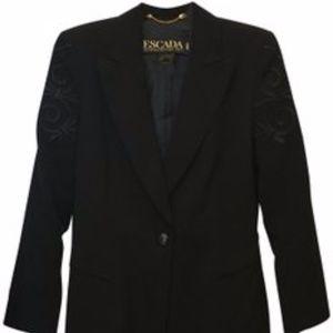 Escada Black Appliqué Blazer Size 6 S  NWT